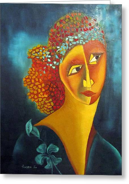 Limelight Greeting Cards - Waiting for partner Orange woman blue cubist face torso tinted hair bold eyes neck flower on dress Greeting Card by Rachel Hershkovitz