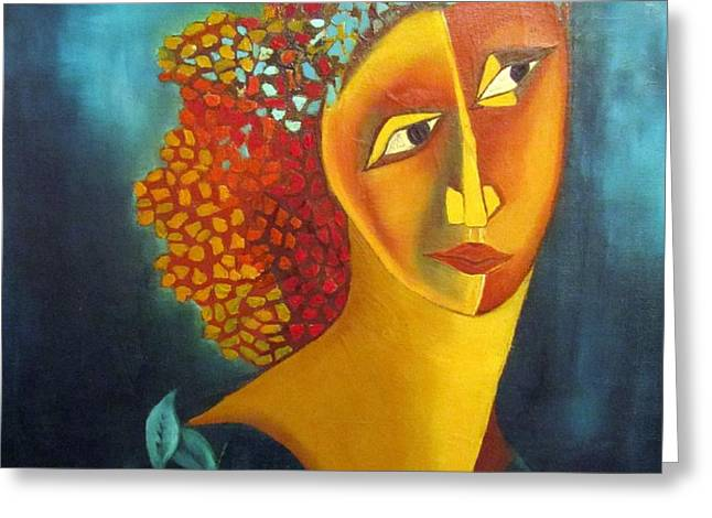 Waiting for partner Orange woman blue cubist face torso tinted hair bold eyes neck flower on dress Greeting Card by Rachel Hershkovitz