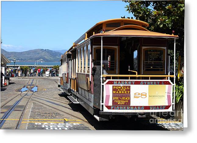 Beach Street Greeting Cards - Waiting For The Cablecar At Fishermans Wharf . San Francisco California . 7D14099 Greeting Card by Wingsdomain Art and Photography