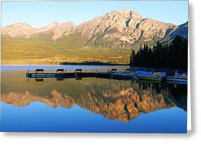 Pyramid Mountain Greeting Cards - Waiting for the Day to Begin Greeting Card by Larry Ricker
