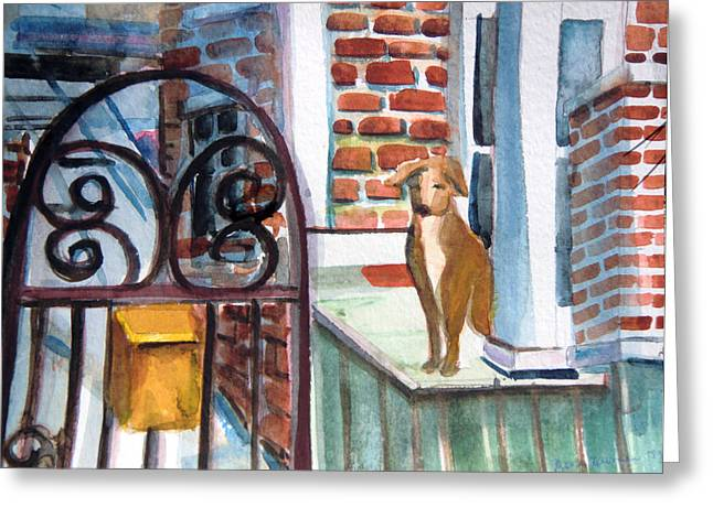 Pillar Box Greeting Cards - Waiting for the Mail Greeting Card by Mindy Newman