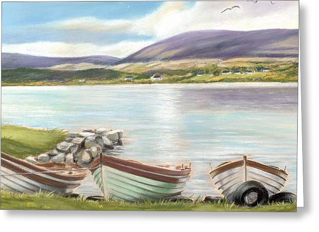 Fishing Boats Pastels Greeting Cards - Waiting for the Mayfly Greeting Card by Irish Art