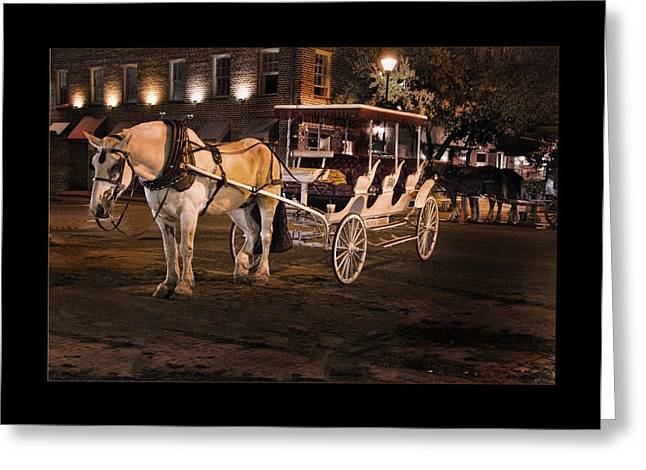 Horse And Buggy Greeting Cards - Waiting for the Next Fare Greeting Card by Diane Bollen