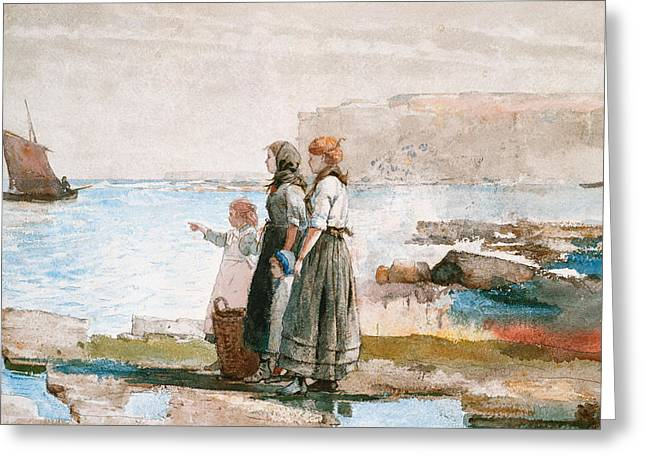 Calm Waiting Greeting Cards - Waiting for the return of the Fishing Fleets Greeting Card by Winslow Homer