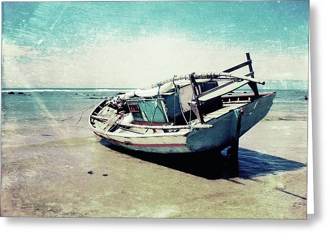 Boat Mixed Media Greeting Cards - Waiting for the tide Greeting Card by Nicklas Gustafsson
