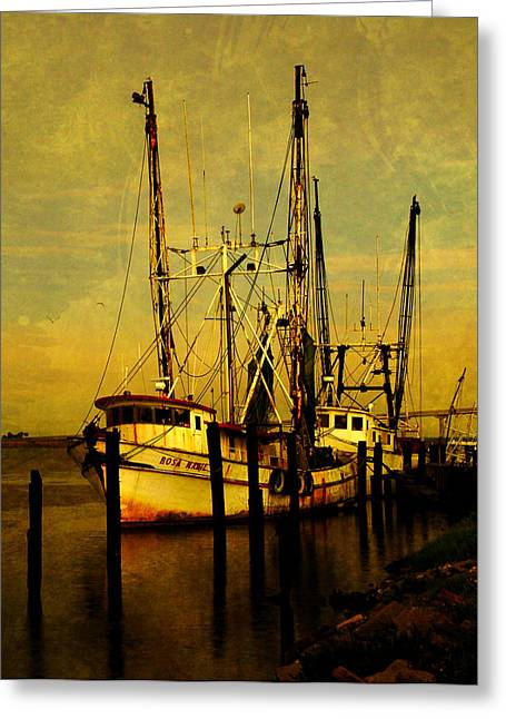 Apalachicola Shrimper Greeting Cards - Waiting for tomorrow Greeting Card by Susanne Van Hulst
