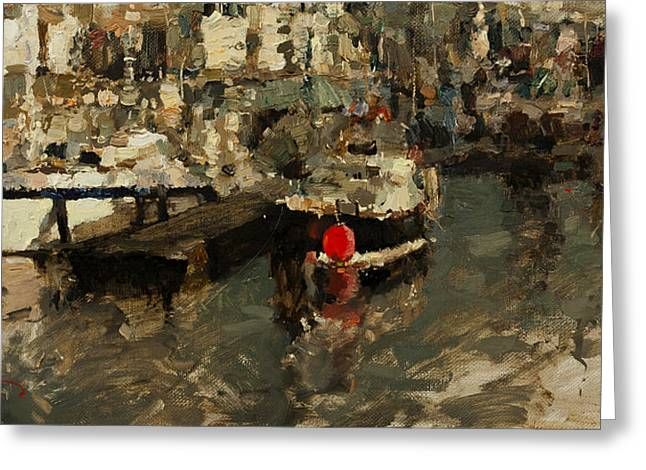Boat Greeting Cards - Waiting for Traveling Greeting Card by Oleg Trofimoff