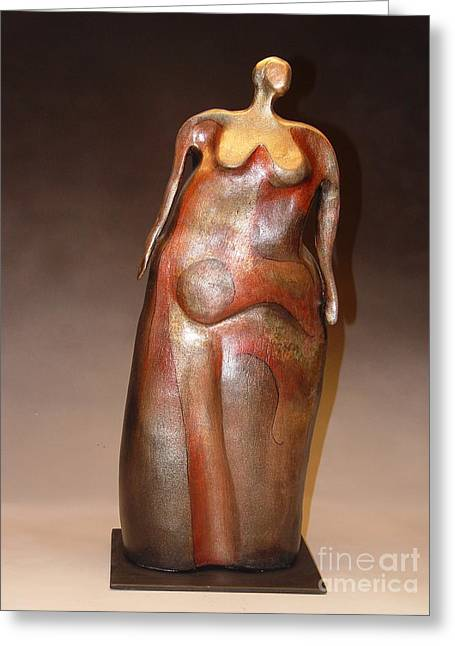 Line Sculptures Greeting Cards - Waiting Greeting Card by Judith Birtman