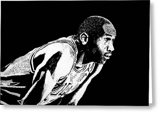Michael Jordan Greeting Cards - Waiting Greeting Card by Matthew Formeller