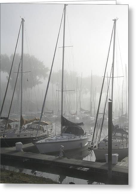 Sailboats Docked Photographs Greeting Cards - Waiting on the Fog Greeting Card by Laurie With