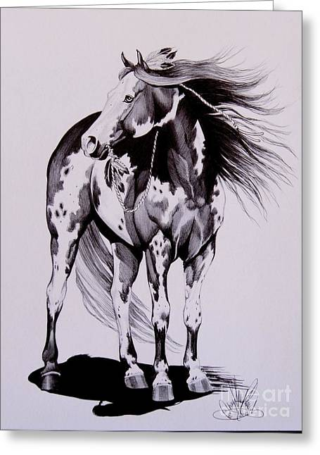 Horse Drawing Greeting Cards - Waiting on the Human Greeting Card by Cheryl Poland
