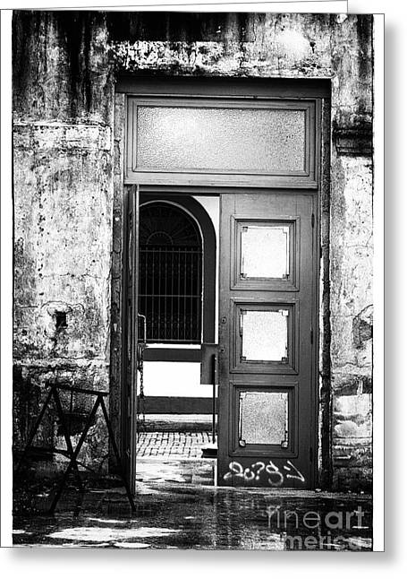 Panama City Greeting Cards - Waiting Past the Door Greeting Card by John Rizzuto