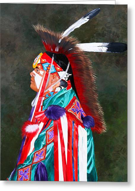 Fancy-dancer Paintings Greeting Cards - Waiting to Dance Greeting Card by Niki Hughes