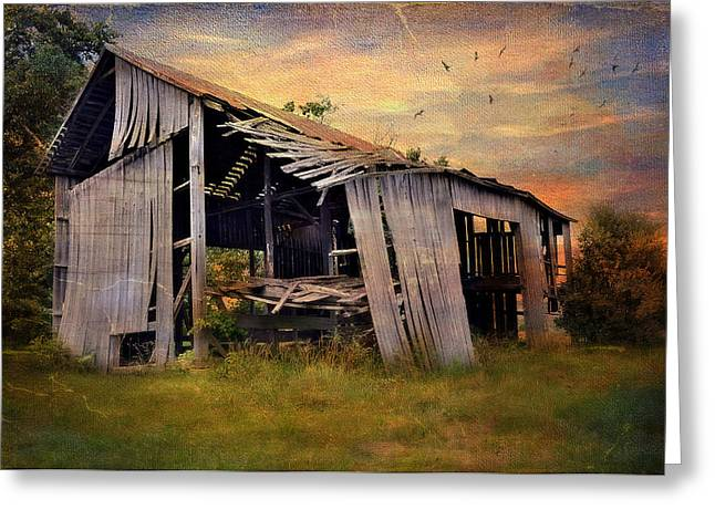 Old Barns Greeting Cards - Waiting To Fall Greeting Card by Kathy Jennings