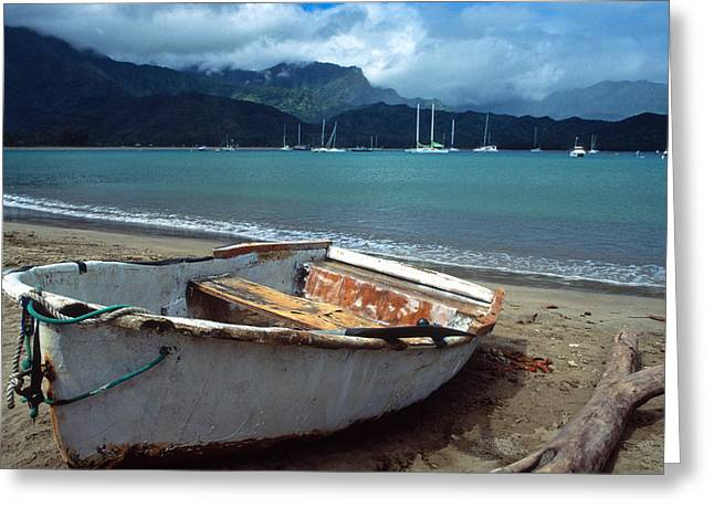 Landscape Framed Prints Greeting Cards - Waiting to Row in Hanalei Bay Greeting Card by Kathy Yates