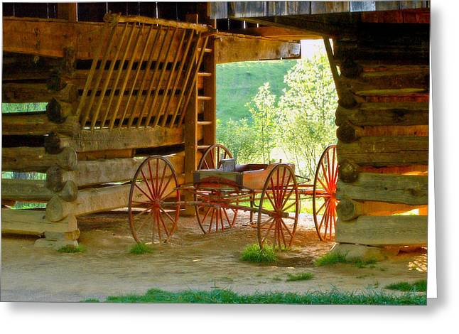 Cantilever Barn Greeting Cards - Waiting Wagon Greeting Card by Katherine Tucker