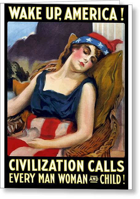 First-lady Greeting Cards - Wake Up America Civilization Calls Greeting Card by War Is Hell Store