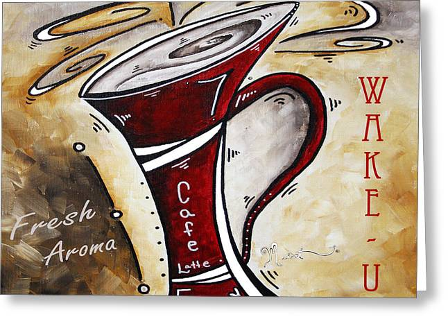 Whimsical Mixed Media Greeting Cards - Wake Up Call Original Painting MADART Greeting Card by Megan Duncanson
