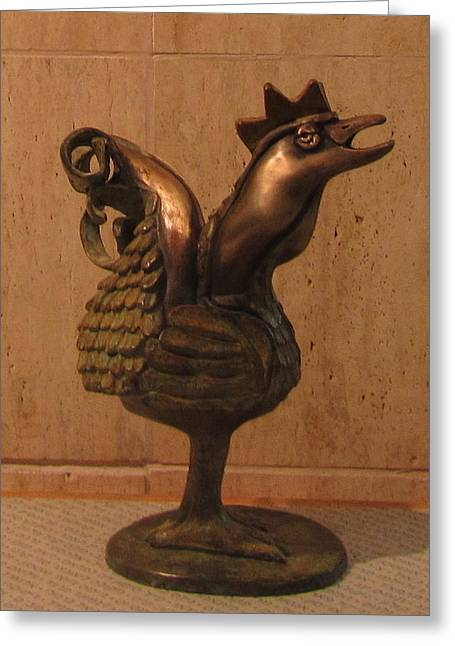 Tail Sculptures Greeting Cards - Wakeup Call Rooster Bronze Sculpture with beak feathers tail brass and opaque surface  Greeting Card by Rachel Hershkovitz