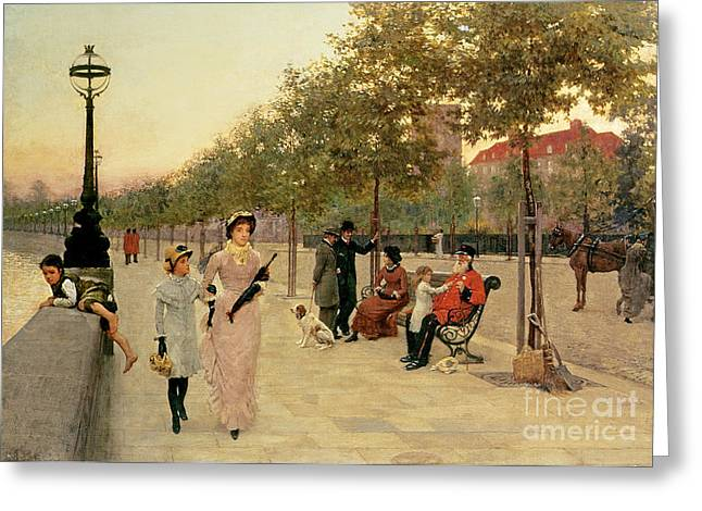 Besides Greeting Cards - Walk along the Embankment at Chelsea Greeting Card by Frederick Brown