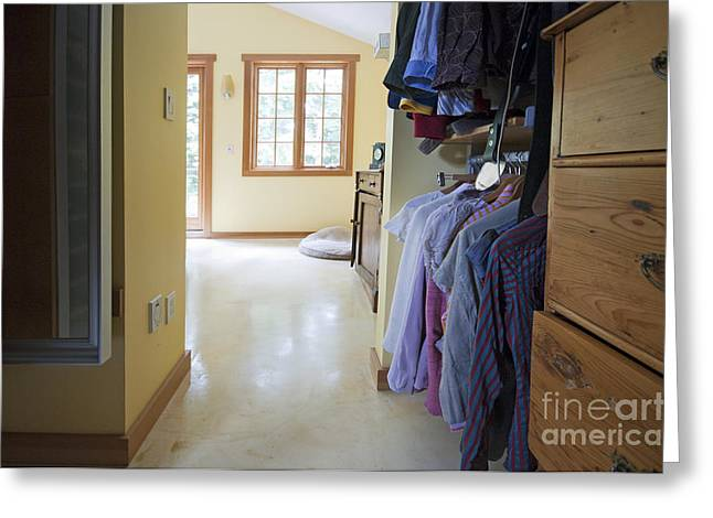 Empty Drawers Greeting Cards - Walk-in Closet Leading to a Bedroom Greeting Card by Marlene Ford