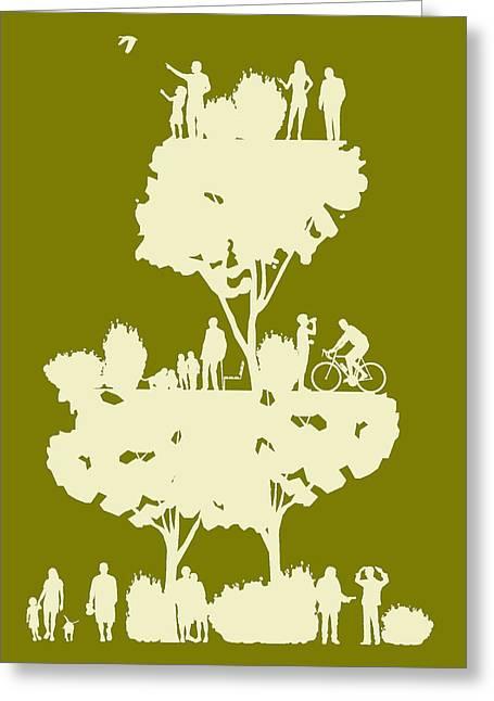 Walk In The Park Greeting Card by Bojan Bundalo