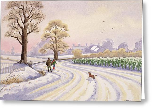 Snow Covered Field Greeting Cards - Walk in the Snow Greeting Card by Lavinia Hamer