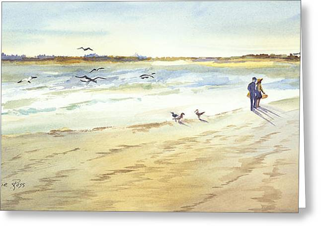 Maine Beach Greeting Cards - Walk on the Beach Greeting Card by Bonnie Ross