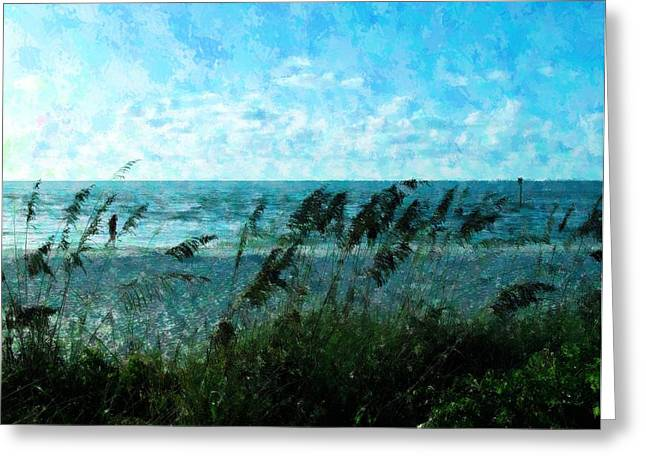 Sea Oats Mixed Media Greeting Cards - Walk On The Beach Greeting Card by Florene Welebny