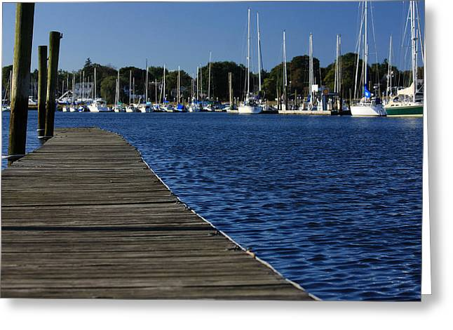 New England Coast Line Greeting Cards - Walk The Dock Greeting Card by Karol  Livote