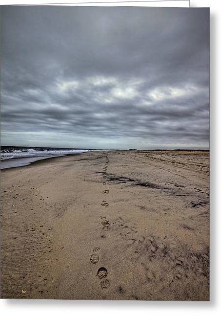 York Beach Photographs Greeting Cards - Walk the Line Greeting Card by Evelina Kremsdorf