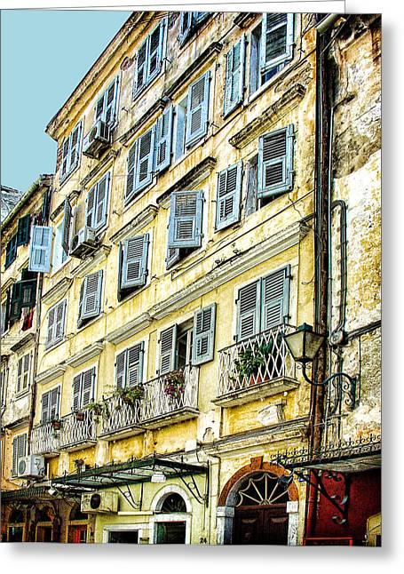 Old Town Digital Art Greeting Cards - Walk Through Corfu Greeting Card by Julie Palencia