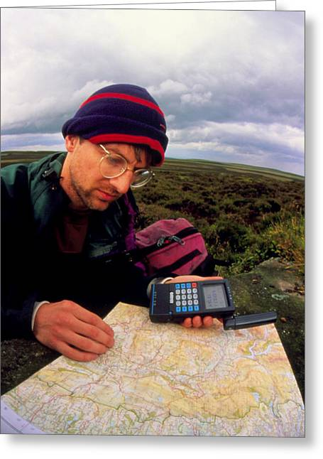 Gps Greeting Cards - Walker Using Hand-held Gps Receiver Greeting Card by David Parker