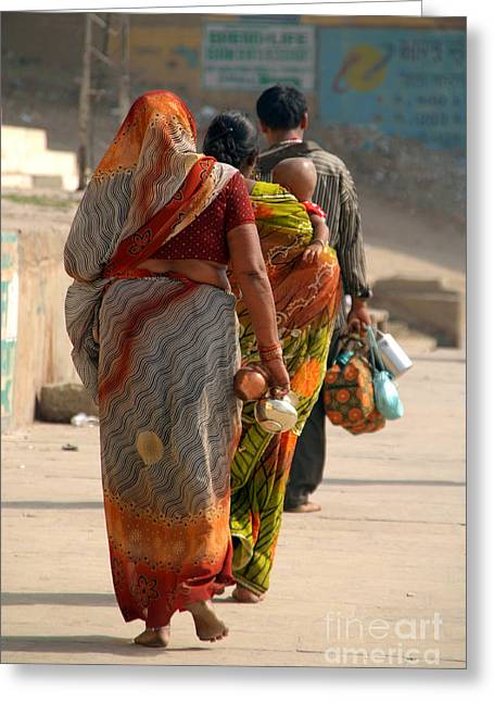 Religious Greeting Cards - Walking Along the Ghats Greeting Card by Serena Bowles