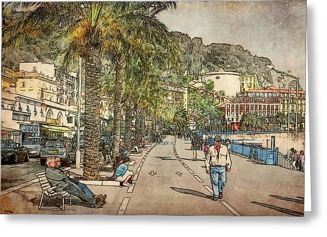 Cannes Greeting Cards - Walking at Nice Beach Greeting Card by Yury Malkov