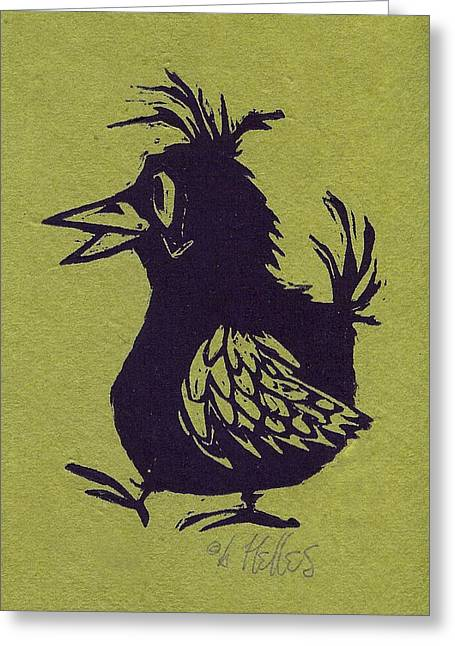 Linoleum Print Greeting Cards - Walking Bird with green background Greeting Card by Barry Nelles Art