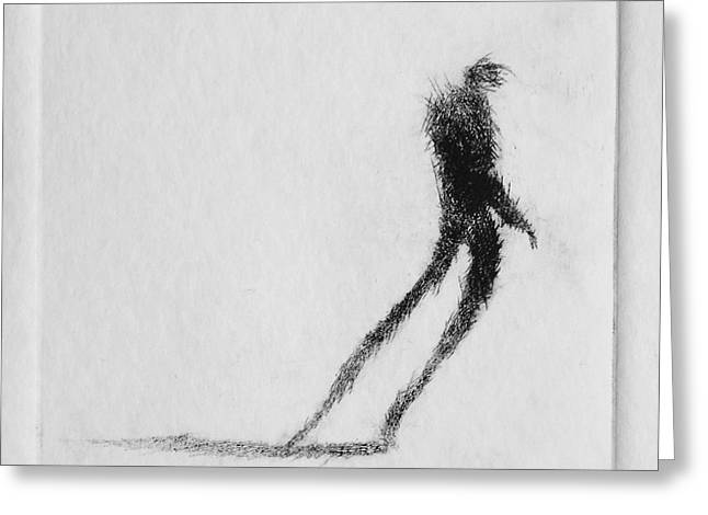 Printmaking Greeting Cards - Walking I Greeting Card by Valdas Misevicius