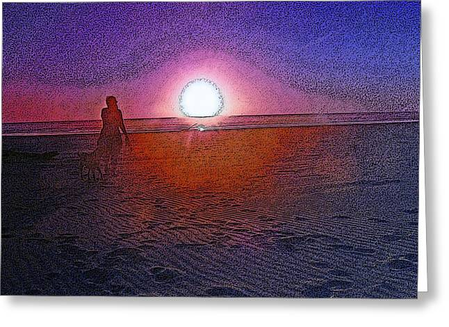 Sea Shell Digital Art Photographs Greeting Cards - Walking in the Glow Greeting Card by Pamela Patch