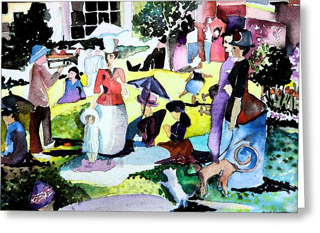 Talking Digital Art Greeting Cards - Walking in the Park Greeting Card by Mindy Newman