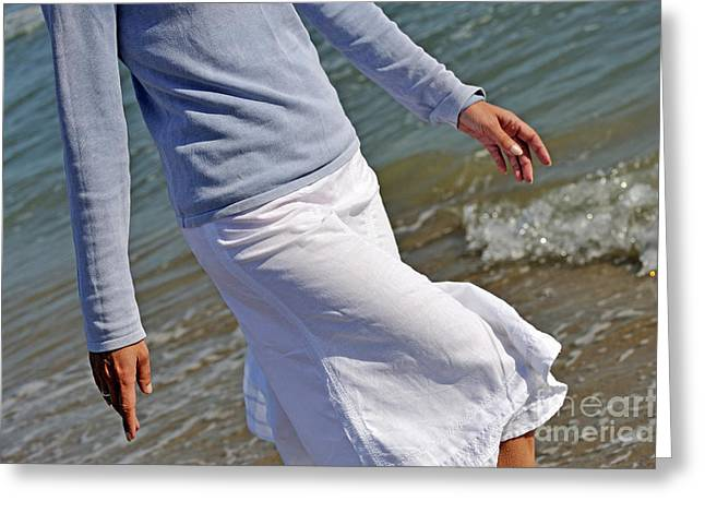 Women Only Greeting Cards - Walking in water on beach Greeting Card by Sami Sarkis