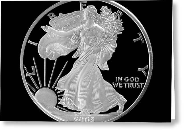 Coins Greeting Cards - Walking Liberty Proof Silver Dollar Greeting Card by Randy Steele