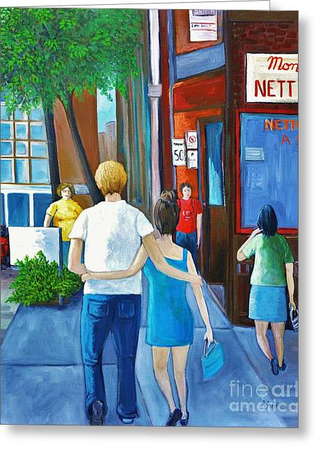 City Of Montreal Paintings Greeting Cards - Walking on a Sunny Day Greeting Card by Reb Frost