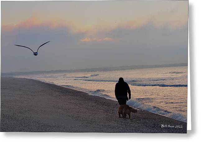 Dog Walking Digital Art Greeting Cards - Walking on the Beach - Cape May Greeting Card by Bill Cannon
