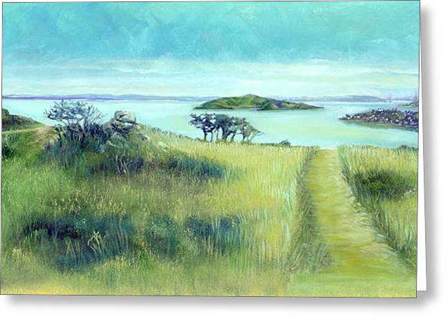 Golden Gate Drawings Greeting Cards - Walking Path Greeting Card by Graciela Placak
