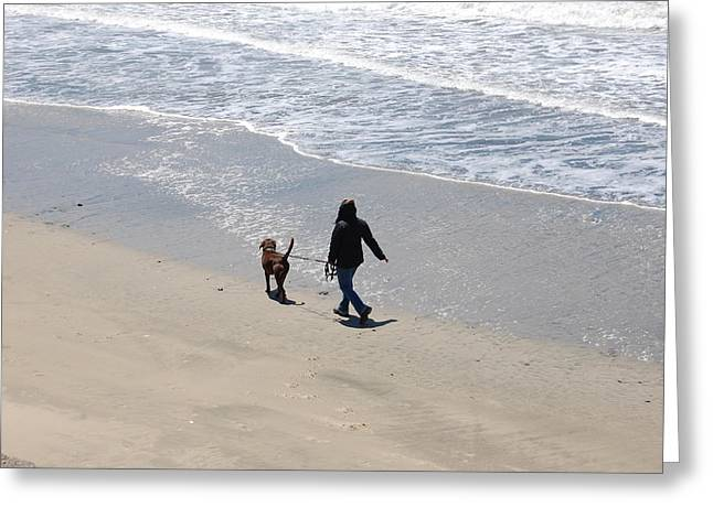 Half Moon Bay Greeting Cards - Walking The Dog Greeting Card by Carolyn Donnell