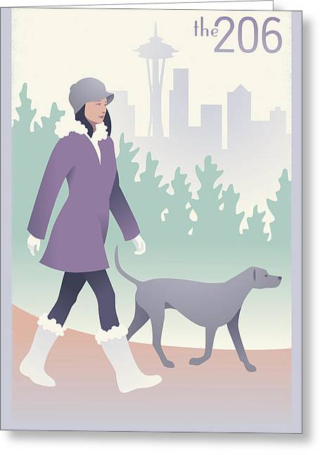 Walking The Dog In Seattle Greeting Card by Mitch Frey
