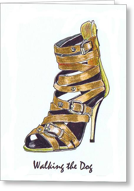 Straps Drawings Greeting Cards - Walking the Dog Greeting Card by Lynn Blake-John