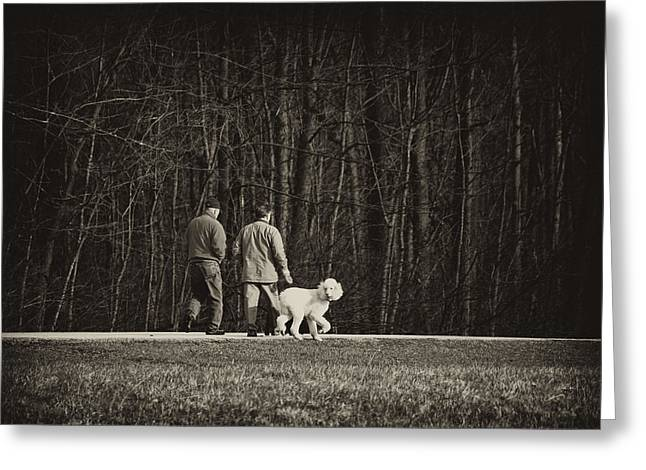 Walking The Dog Greeting Card by Off The Beaten Path Photography - Andrew Alexander