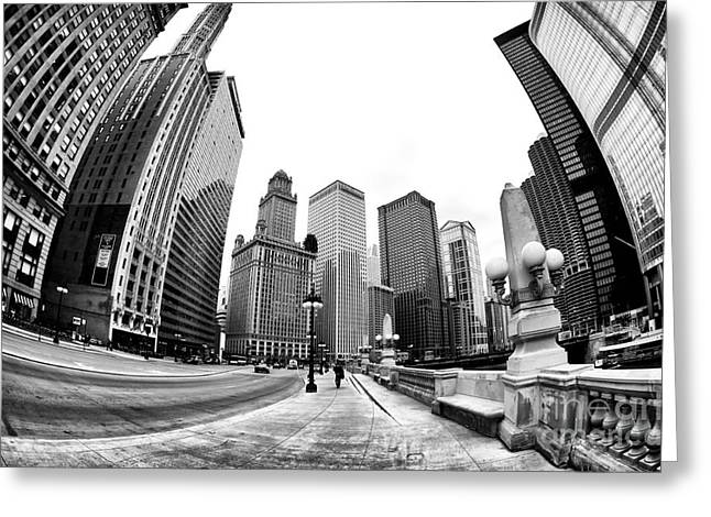 Riverwalk Greeting Cards - Walking the Line in Chicago Greeting Card by John Rizzuto