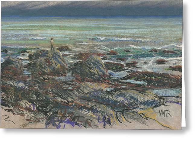 Pescadero Greeting Cards - Walking the Rocks Greeting Card by Donald Maier